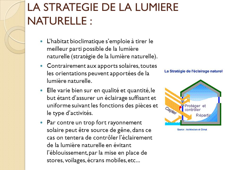 LA STRATEGIE DE LA LUMIERE NATURELLE :