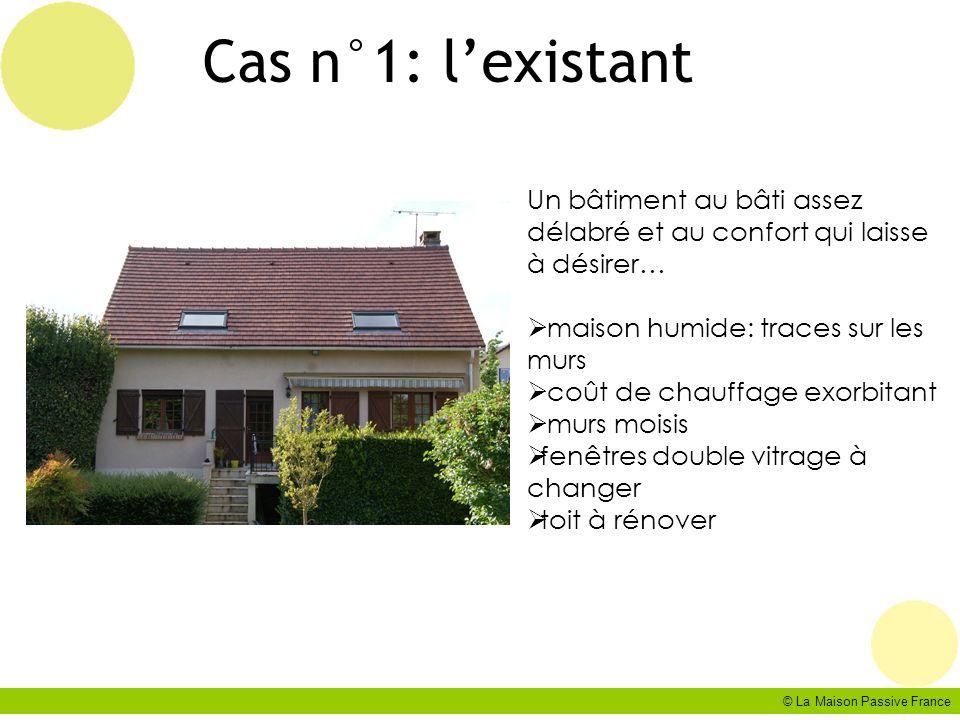 Cas n°1: l'existant Un bâtiment au bâti assez délabré et au confort qui laisse à désirer… maison humide: traces sur les murs.