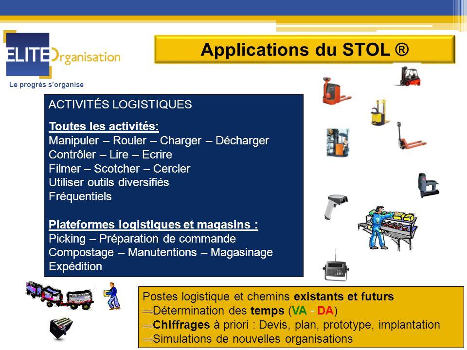 Applications du STOL ® ACTIVITÉS LOGISTIQUES Toutes les activités: