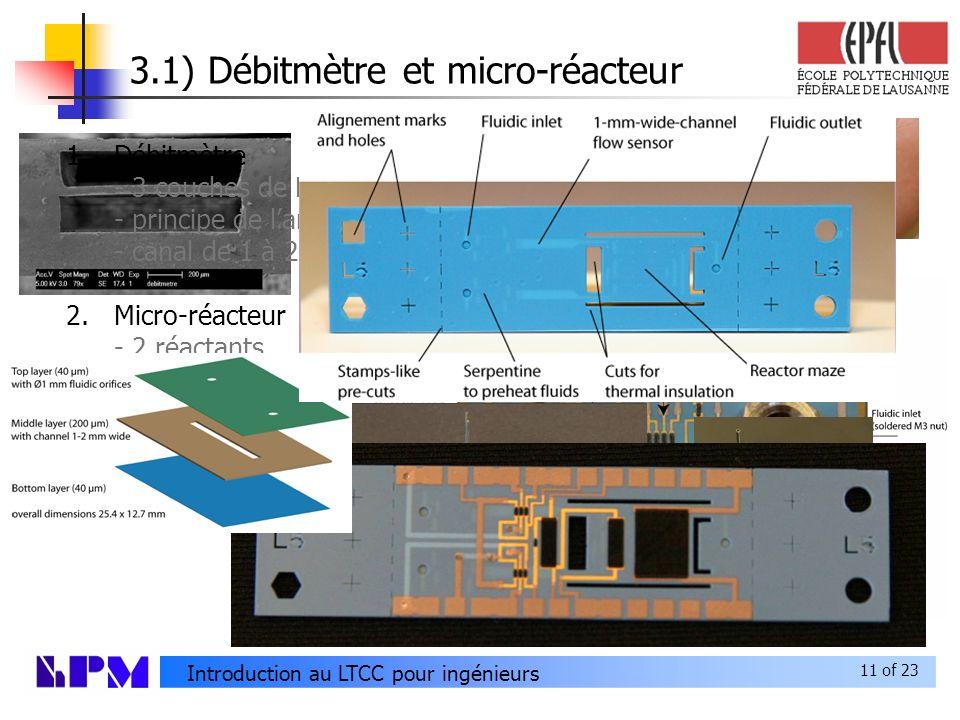 3.1) Débitmètre et micro-réacteur