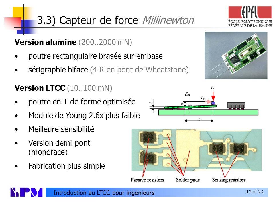 3.3) Capteur de force Millinewton