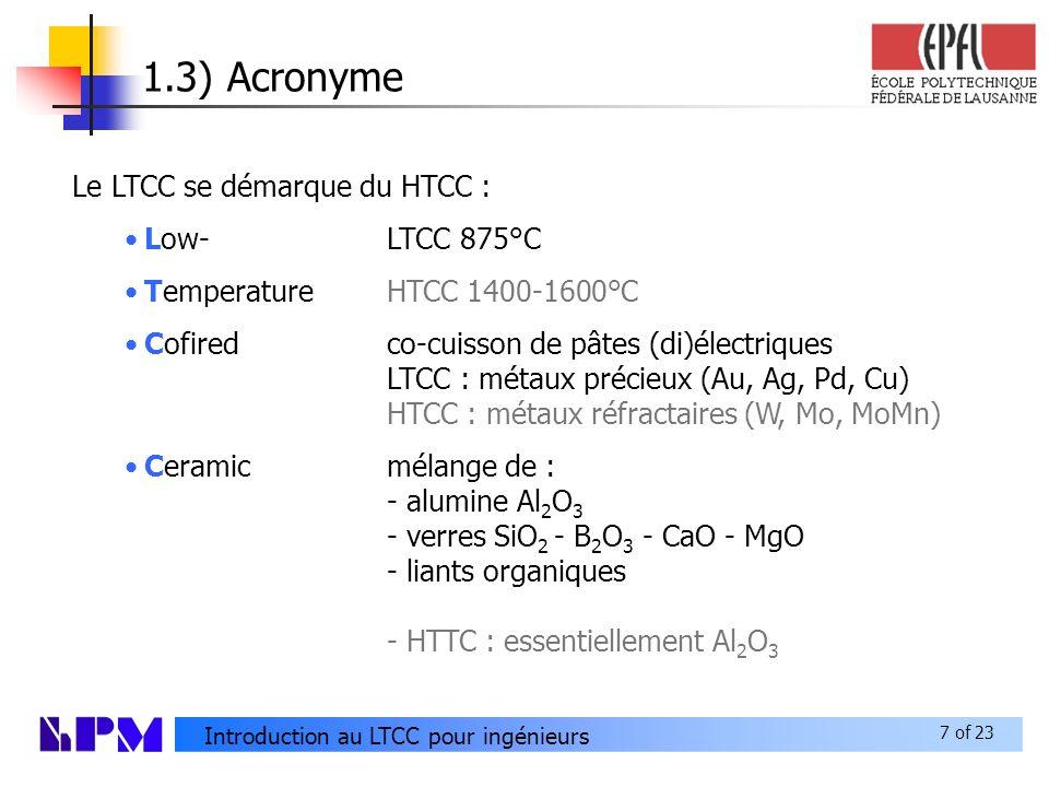 1.3) Acronyme Le LTCC se démarque du HTCC : Low- LTCC 875°C