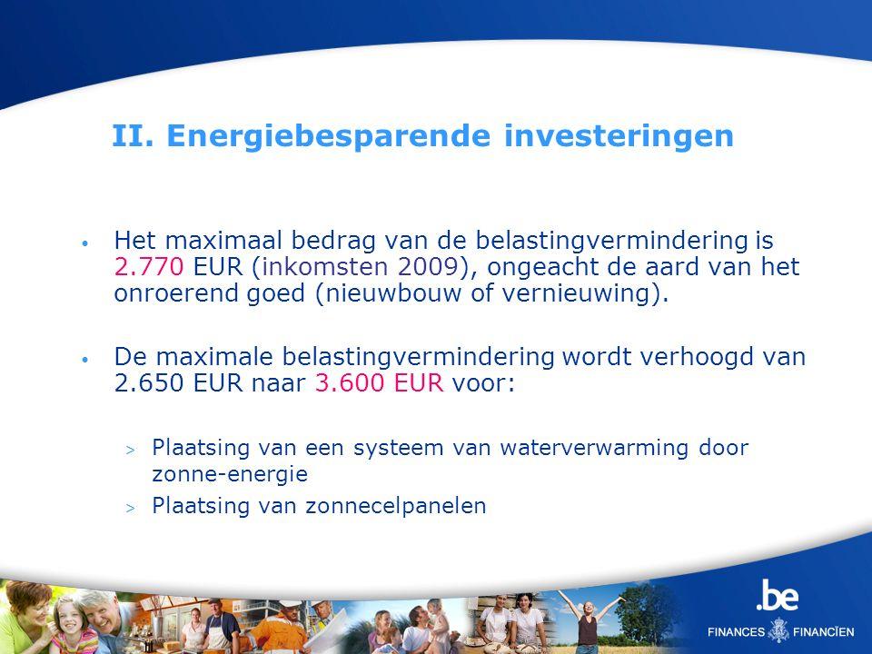 II. Energiebesparende investeringen