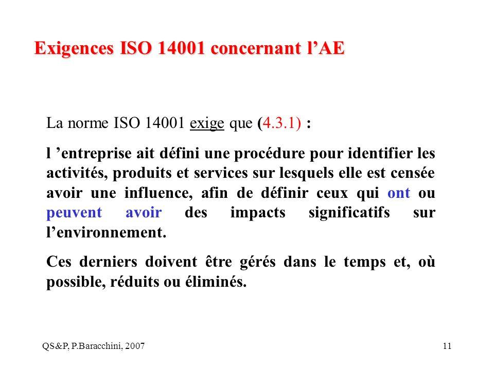 Exigences ISO 14001 concernant l'AE