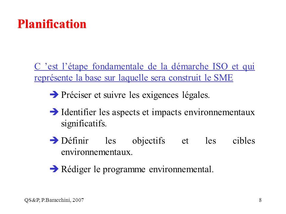 Planification C 'est l'étape fondamentale de la démarche ISO et qui représente la base sur laquelle sera construit le SME.