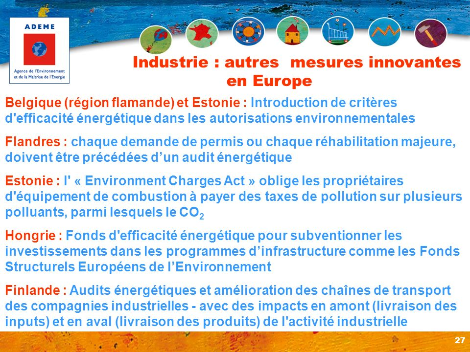 Industrie : autres mesures innovantes en Europe