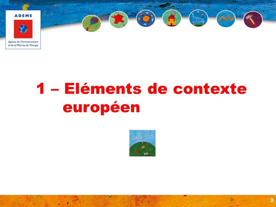 1 – Eléments de contexte européen