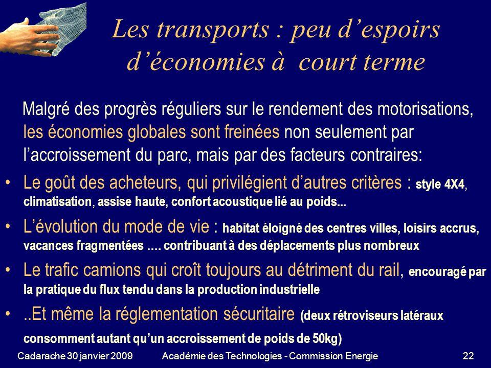 Les transports : peu d'espoirs d'économies à court terme