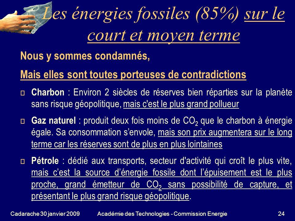 Les énergies fossiles (85%) sur le court et moyen terme