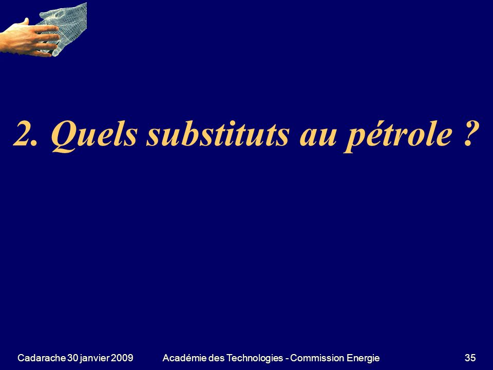 2. Quels substituts au pétrole