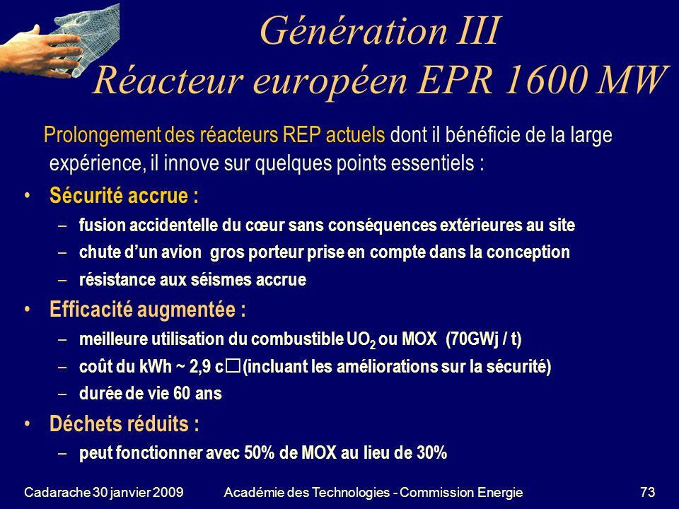 Génération III Réacteur européen EPR 1600 MW