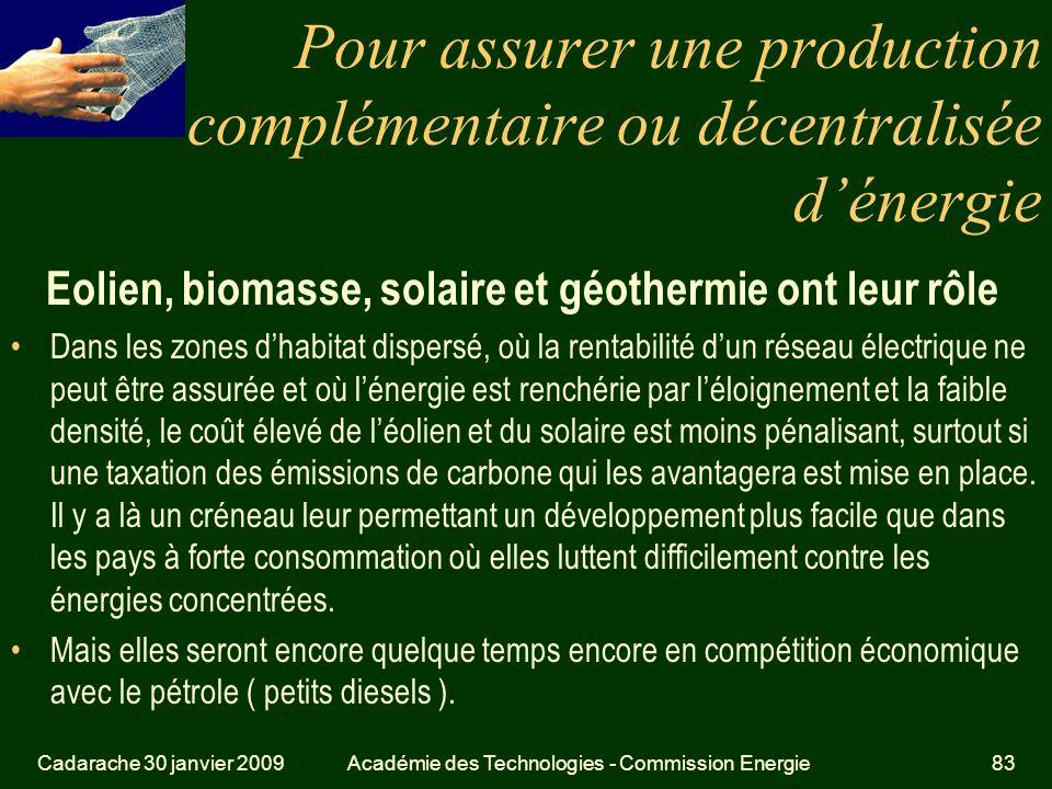 Pour assurer une production complémentaire ou décentralisée d'énergie