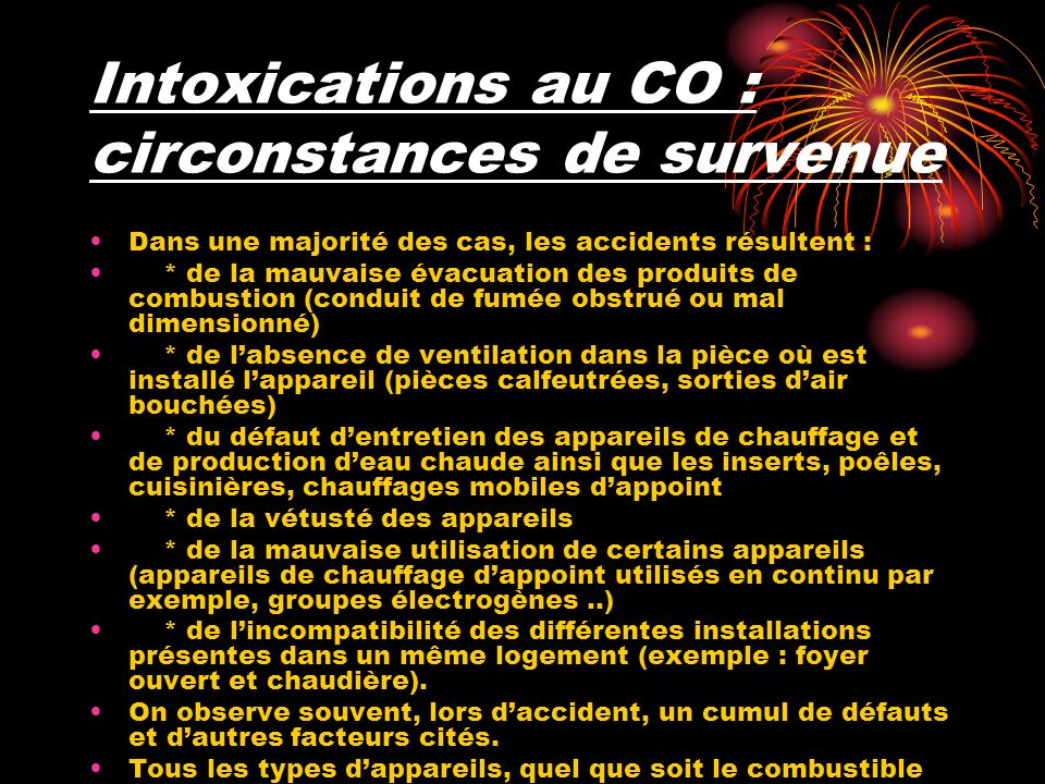 Intoxications au CO : circonstances de survenue
