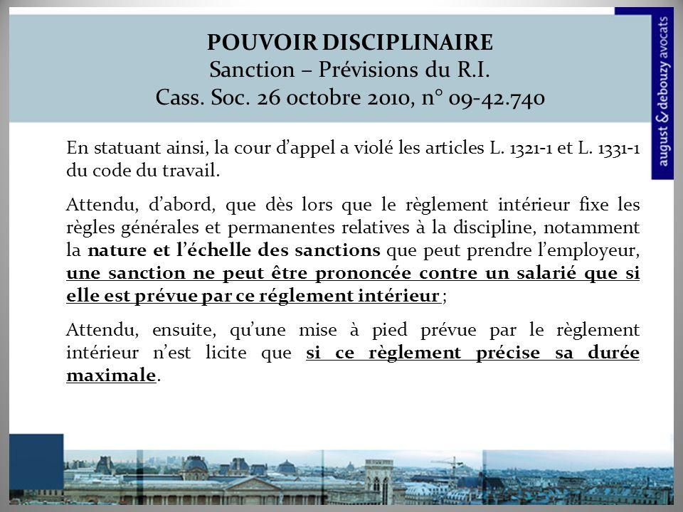 POUVOIR DISCIPLINAIRE Sanction – Prévisions du R. I. Cass. Soc