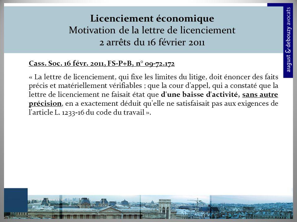 Licenciement économique Motivation de la lettre de licenciement 2 arrêts du 16 février 2011