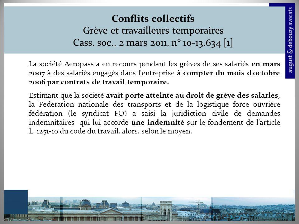 Conflits collectifs Grève et travailleurs temporaires Cass. soc