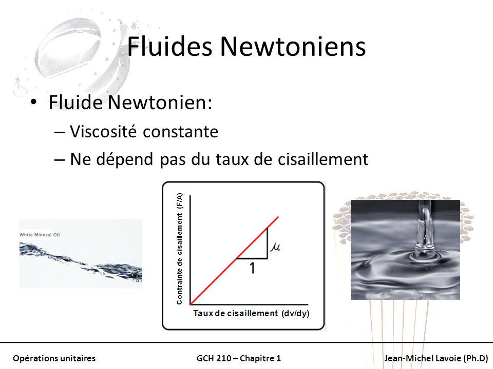 Fluides Newtoniens Fluide Newtonien: Viscosité constante