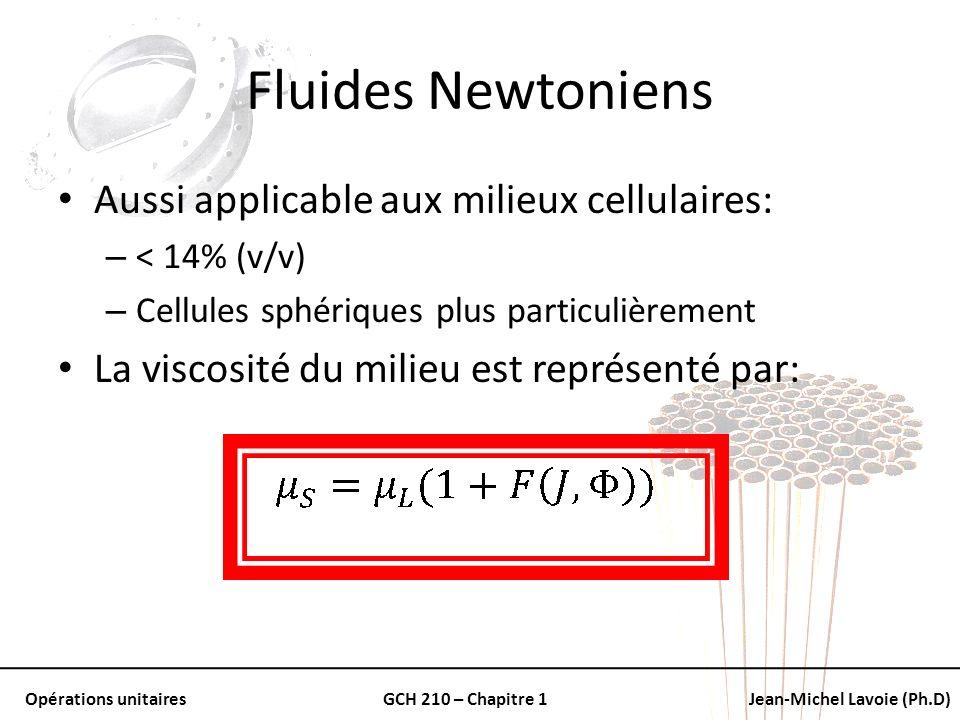 Fluides Newtoniens Aussi applicable aux milieux cellulaires:
