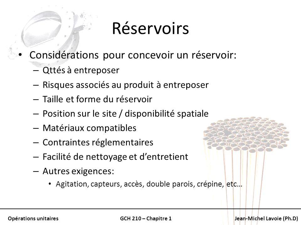 Réservoirs Considérations pour concevoir un réservoir: