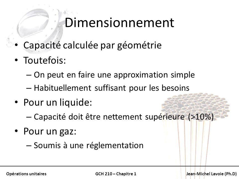 Dimensionnement Capacité calculée par géométrie Toutefois: