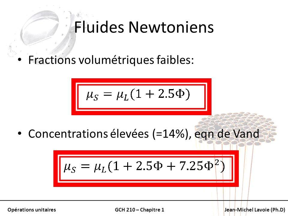 Fluides Newtoniens Fractions volumétriques faibles: