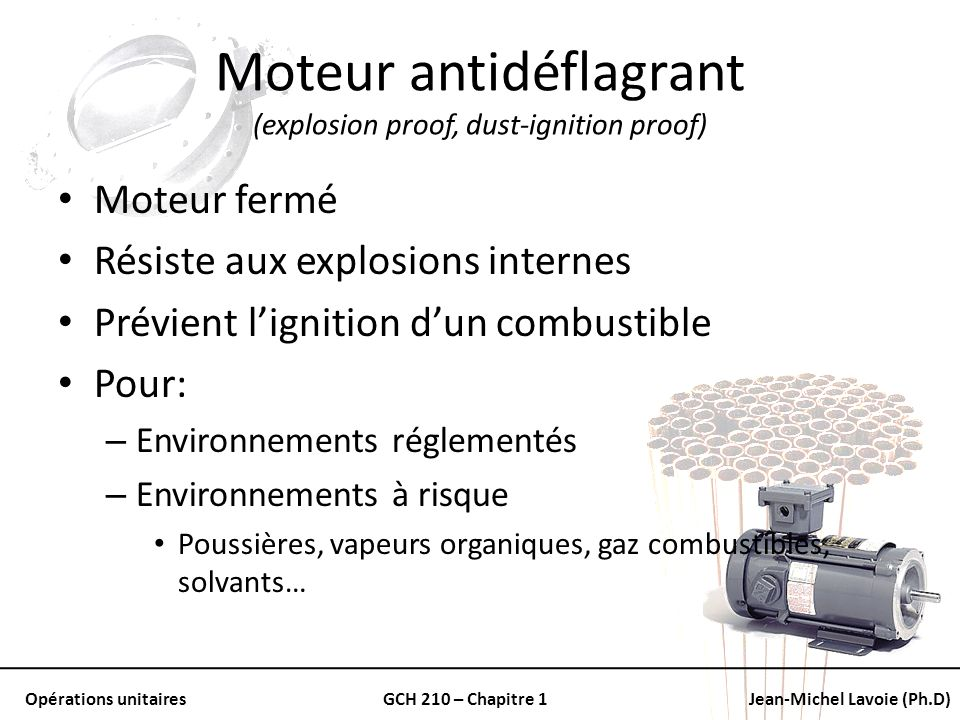 Moteur antidéflagrant (explosion proof, dust-ignition proof)