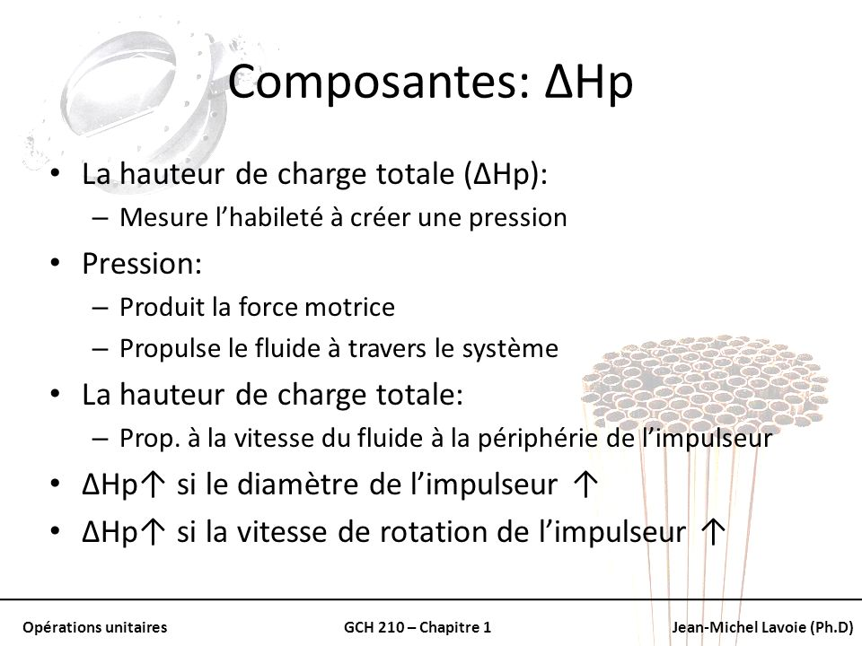 Composantes: ΔHp La hauteur de charge totale (ΔHp): Pression: