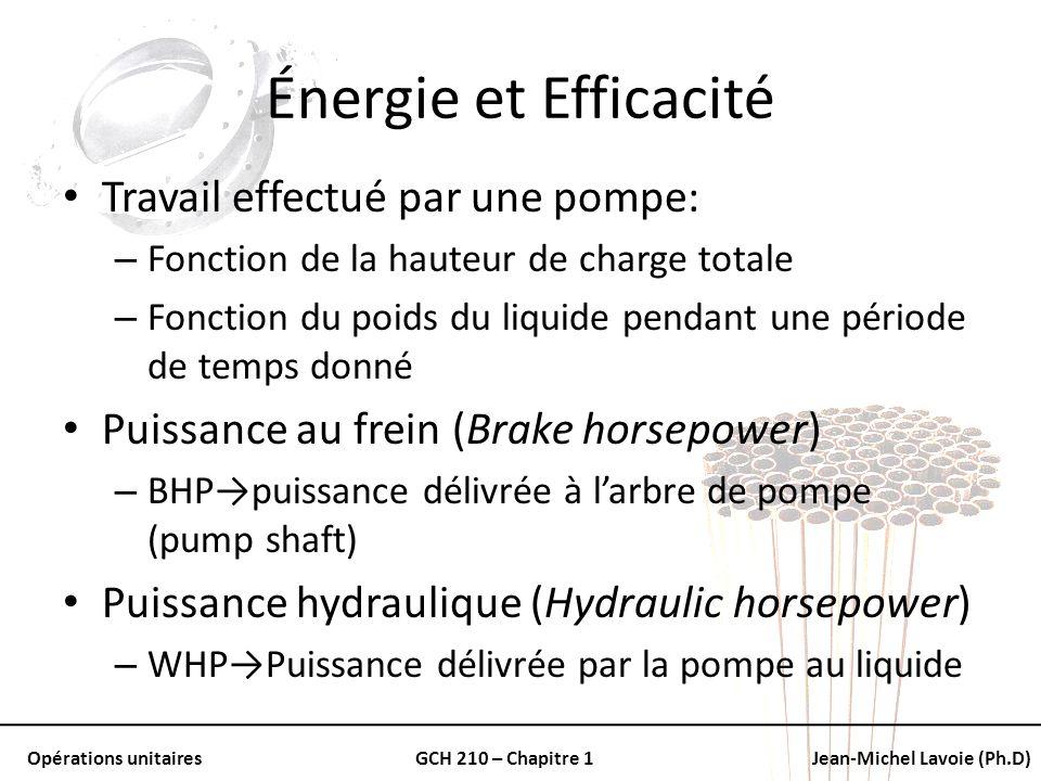 Énergie et Efficacité Travail effectué par une pompe: