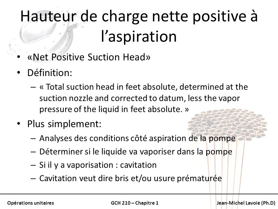 Hauteur de charge nette positive à l'aspiration