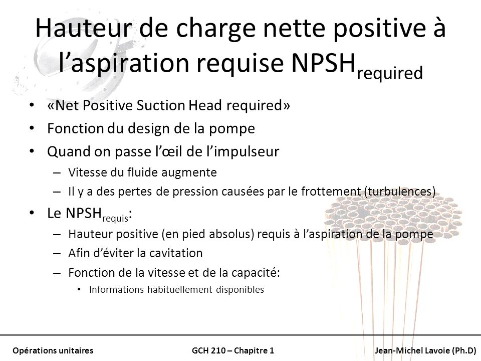 Hauteur de charge nette positive à l'aspiration requise NPSHrequired