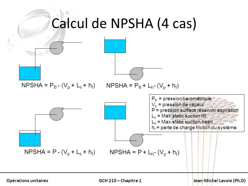 Calcul de NPSHA (4 cas) NPSHA = PB - (Vp + Ls + hf)