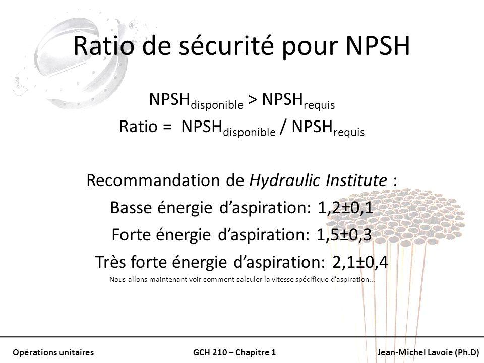 Ratio de sécurité pour NPSH