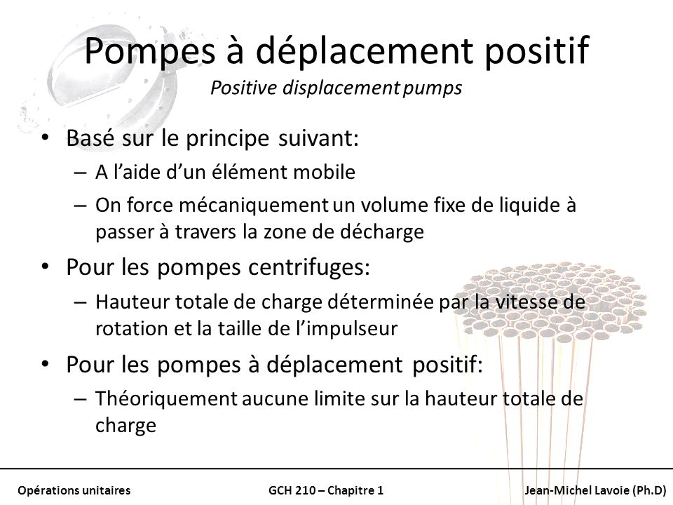 Pompes à déplacement positif Positive displacement pumps