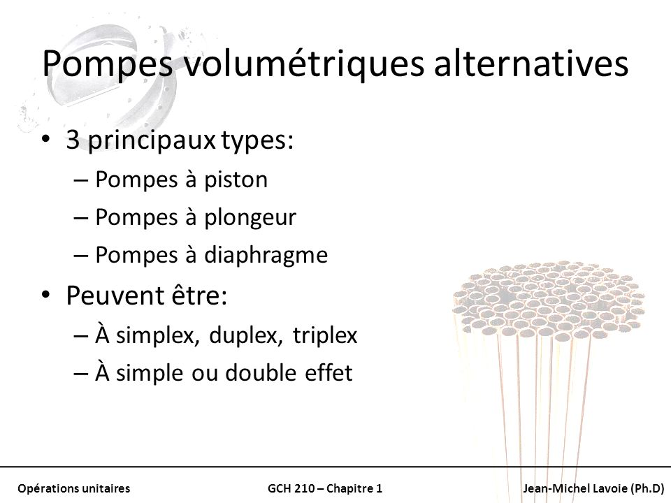Pompes volumétriques alternatives