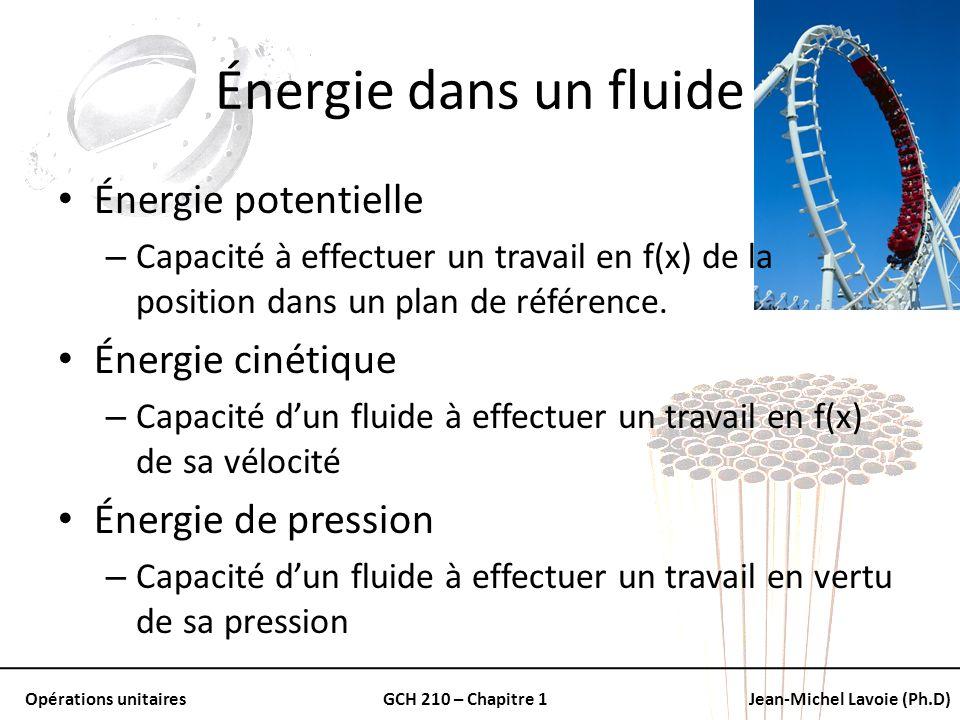 Énergie dans un fluide Énergie potentielle Énergie cinétique