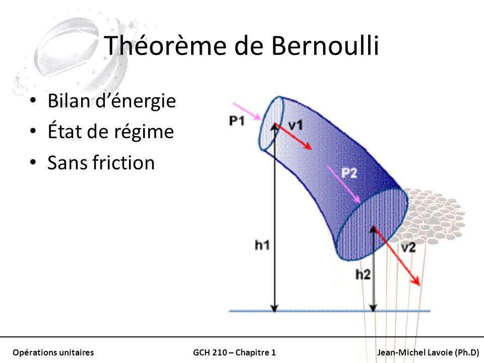 Théorème de Bernoulli Bilan d'énergie État de régime Sans friction