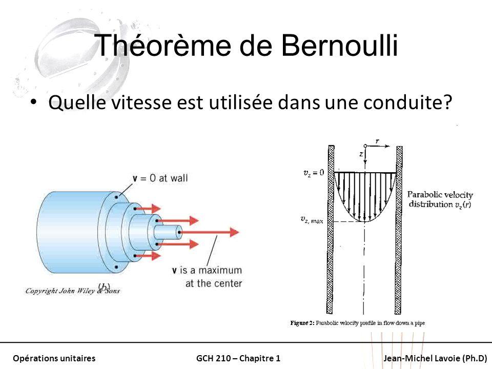 Théorème de Bernoulli Quelle vitesse est utilisée dans une conduite