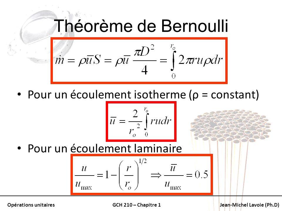 Théorème de Bernoulli Pour un écoulement isotherme (ρ = constant)