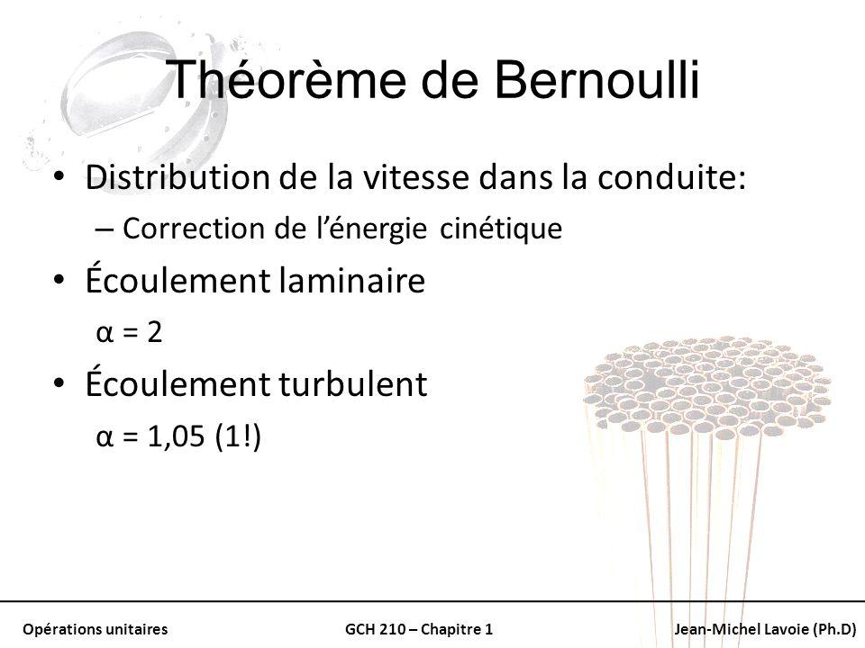 Théorème de Bernoulli Distribution de la vitesse dans la conduite: