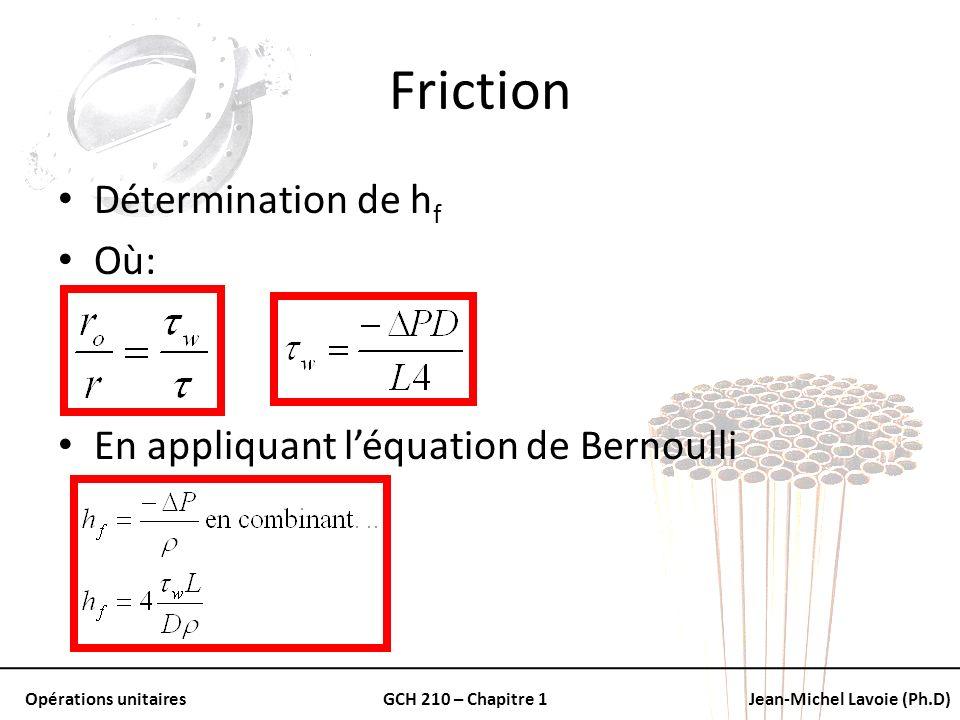 Friction Détermination de hf Où: En appliquant l'équation de Bernoulli