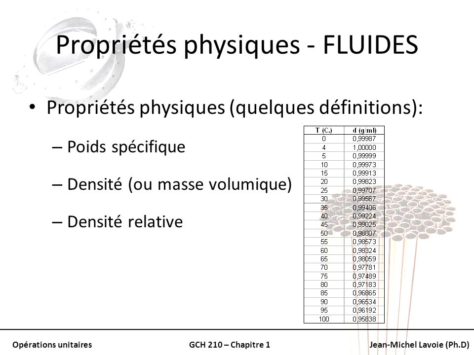 Propriétés physiques - FLUIDES