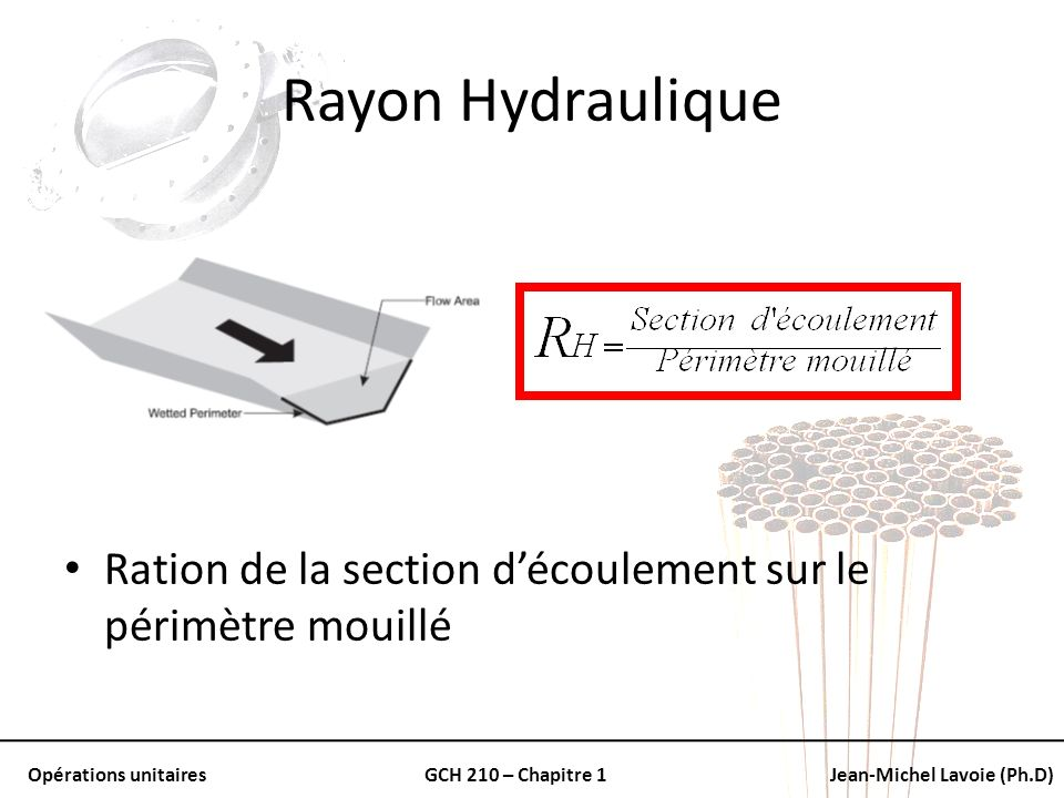 Rayon Hydraulique Ration de la section d'écoulement sur le périmètre mouillé