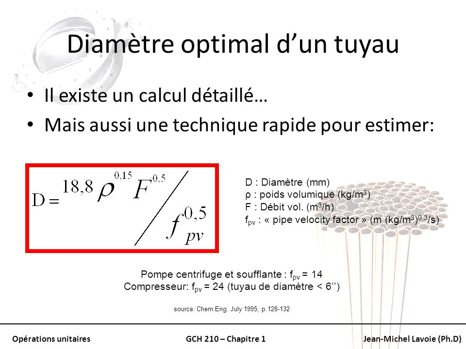 Diamètre optimal d'un tuyau