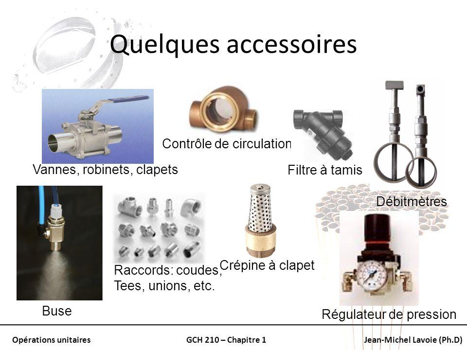 Quelques accessoires Contrôle de circulation Vannes, robinets, clapets