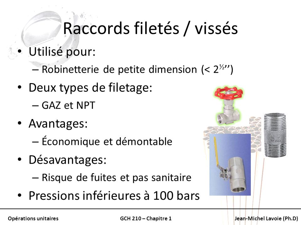filetages robinetterie sanitaire