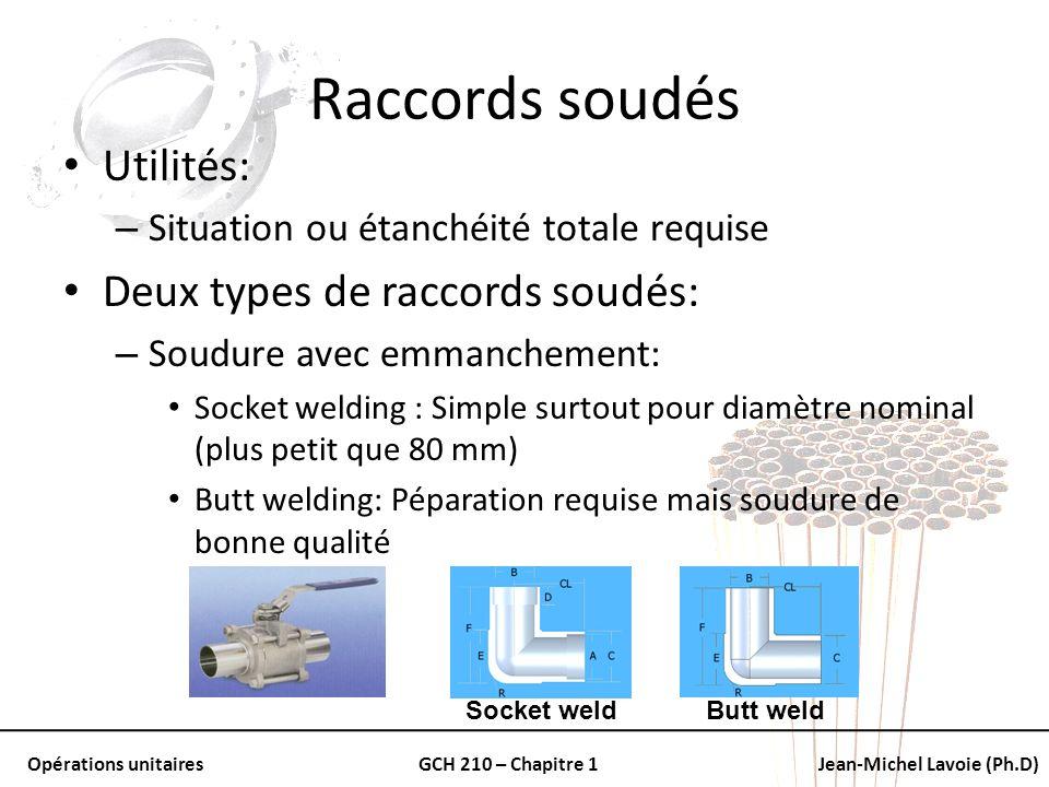 Raccords soudés Utilités: Deux types de raccords soudés: