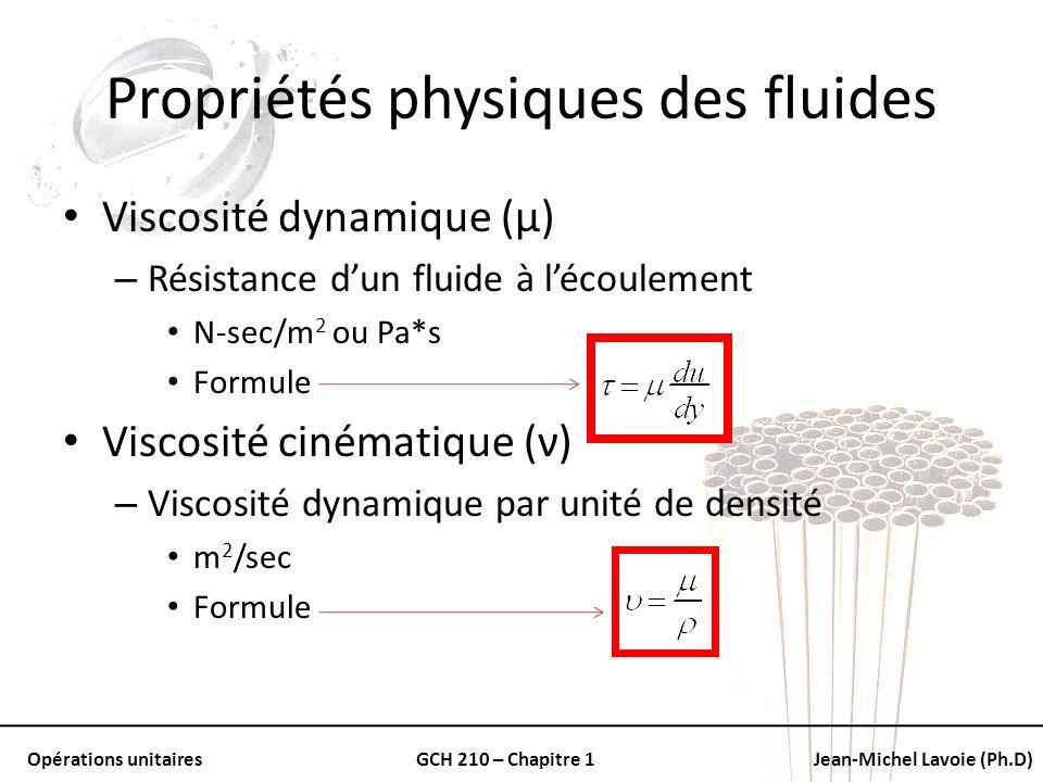 Propriétés physiques des fluides