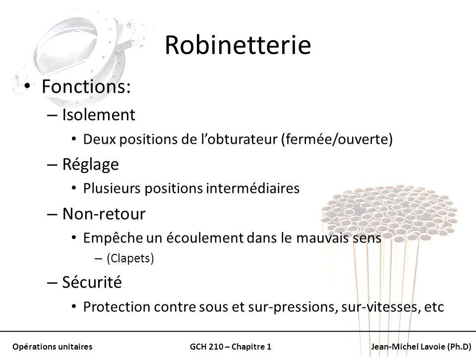 Robinetterie Fonctions: Isolement Réglage Non-retour Sécurité
