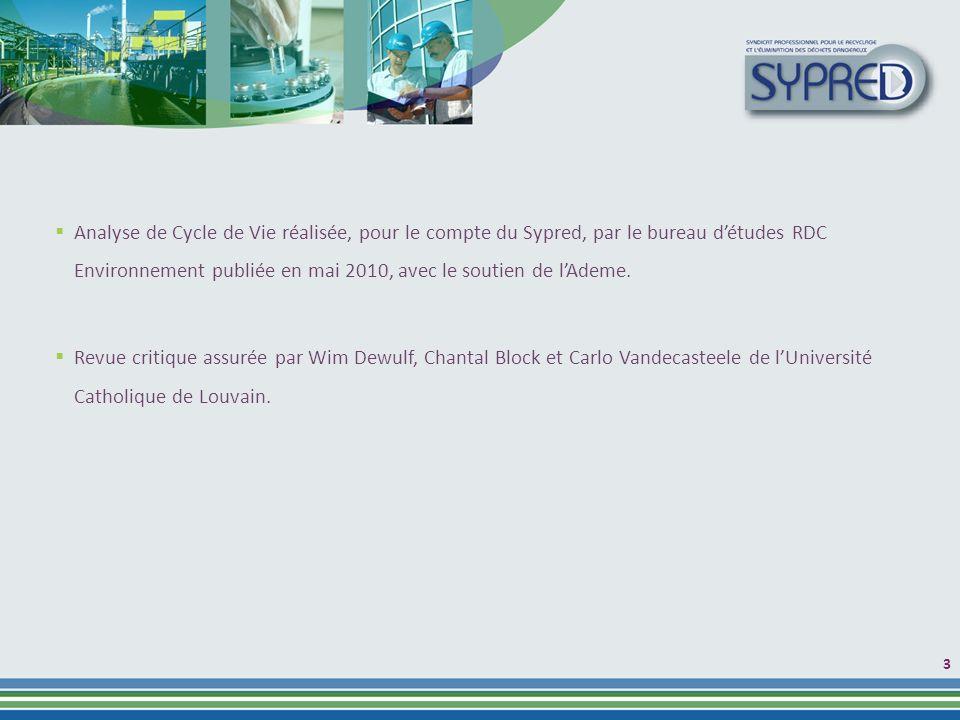 Analyse de Cycle de Vie réalisée, pour le compte du Sypred, par le bureau d'études RDC Environnement publiée en mai 2010, avec le soutien de l'Ademe.