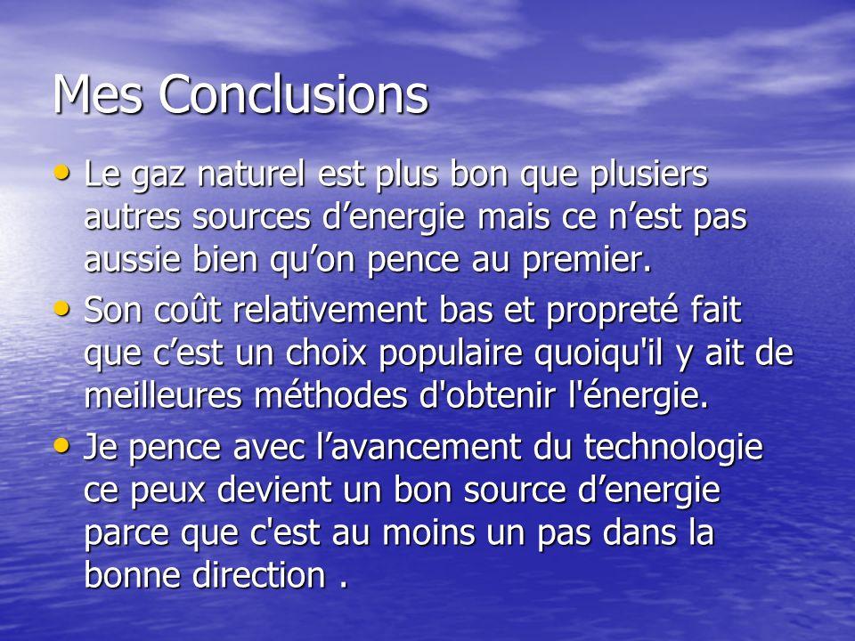 Mes Conclusions Le gaz naturel est plus bon que plusiers autres sources d'energie mais ce n'est pas aussie bien qu'on pence au premier.